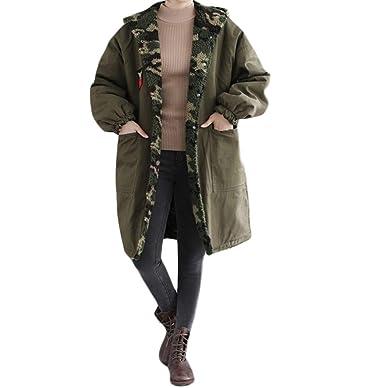BHYDRY Mujeres más tamaño Abrigo de Invierno impresión de Camuflaje fácil Larga Chaqueta Suelta Dos Desgaste: Amazon.es: Ropa y accesorios