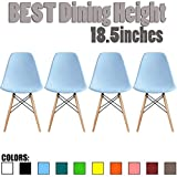 2xhome Set of 4 White Mid Country Modern Molded Shell Designer Assemble Plastic Chair Side No Arms Wheels Armless Chairs Natural Wood Wooden Eiffel for Dining Room Bedroom Kitchen Accent Office DSW Review