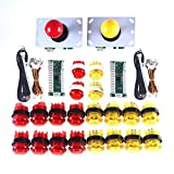 WINIT 2 Player LED Illuminated Arcade Game DIY Parts Kit for USB MAME & Raspberry Pi RetroPie Cabinet DIY Color: Red + Yellow
