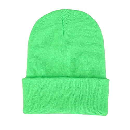 CANCA Unisex Cuff Warm Winter Hat Knit Plain Skull Beanie Toboggan Knit Hat/Cap (Light (Green Knit Beanie Cap Hat)