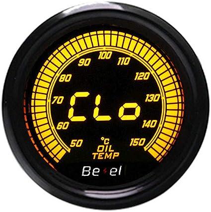Diyarts Digitale Auto Öltemperaturanzeige Meter Led Anzeige Auto Ölthermometer 50 150 Schwarz 2 Zoll 52mm Auto