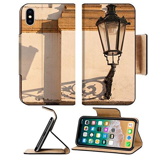 Czech Leaf Light - MSD Premium Apple iPhone X Flip Pu Leather Wallet Case Old vintage lamp on wall in czech street IMAGE 21692104