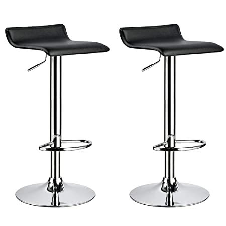 Duhome 2 PCS Contemporary Counter Bar Stool Curved Swivel Adjustable Barstools Black