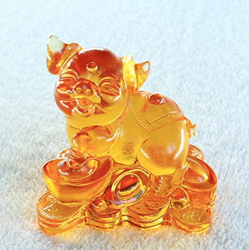 Chinese 12 Zodiac – Pig, Pure Handmade Colored Glaze Liuli Crystal, Collectible Glass Art, A Classic Gift from Oriental, Feng Shui Products,Pig Statue