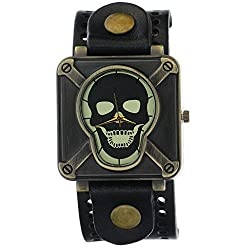 Ghost Rider Copper Skeleton Skull Dial Men boys Wide Belt Genuine Leather Wide Strap Cool Watches