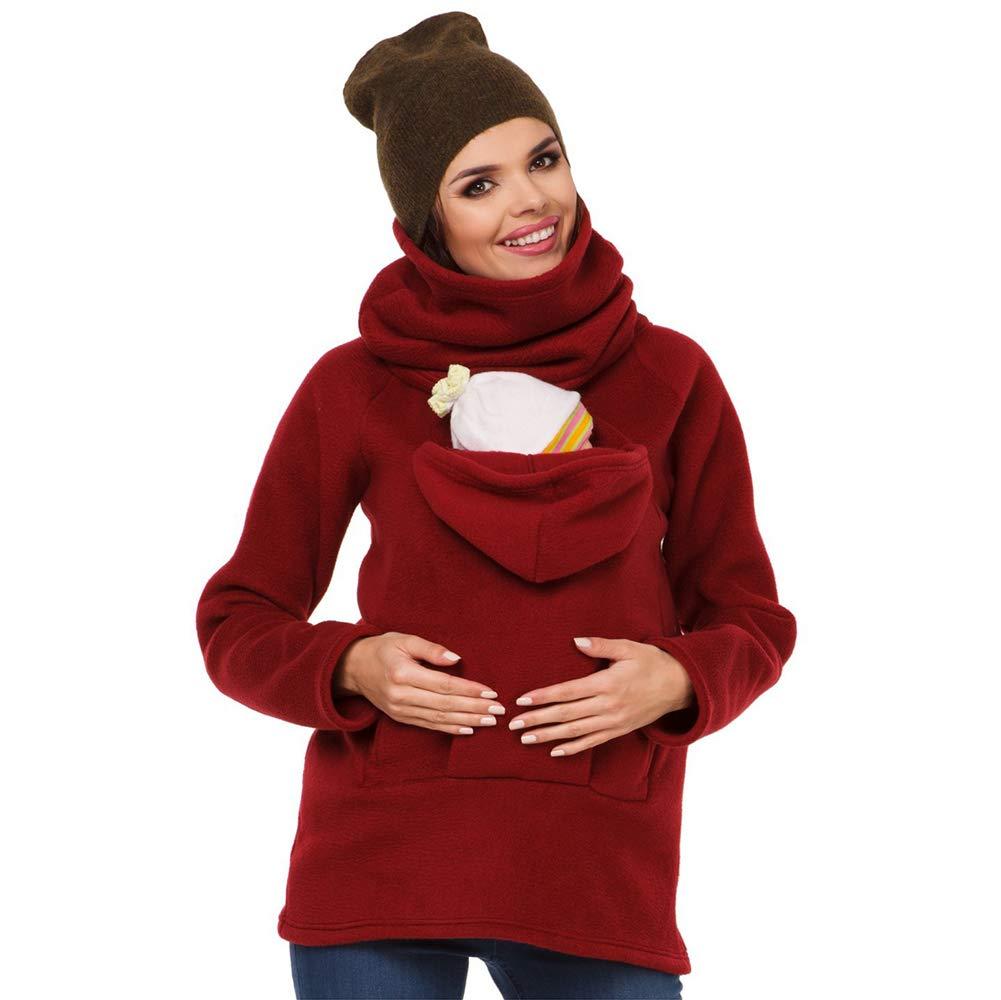 Baby Carrier Sweatshirt, 3 In 1 Frauen Mutterschaft Hoodie Fleece Warme Weiche Känguru-Tasche Mantel Jacke Für Schwangere Lady Wearing Baby Halter Pullover Tops HWJK