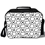 xo baby food storage - Insulated Lunch Bag,Xo Decor,Doodle Style Pattern Friendship Monochrome Letters Internet Expression Print,Black White,for Work/School/Picnic, Grey