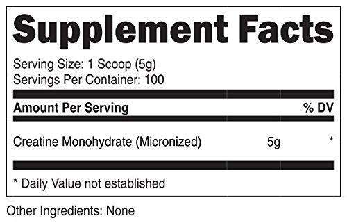 VitaDirect Bulk Creatine Monohydrate 500g [Micronized for Absorption, 5g per Serving, 100 Servings!]