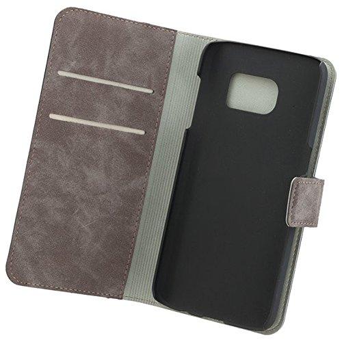COMMANDER Tasche BOOK CASE Nubuk Gray 2in1 mit Back Cover für Samsung Galaxy S7 SM-G930 Lizenzprodukt + Reinigungstuch iMoBi