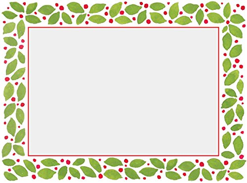 Green Christmas Photo Cards (Entertaining with Caspari Leaves and Berries Christmas Photo Cards, Pack of 10)
