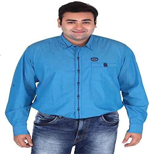 11ef505ed2d4a Xmex Plus Size Blue Mens 100% Cotton Shirts  Amazon.in  Clothing    Accessories