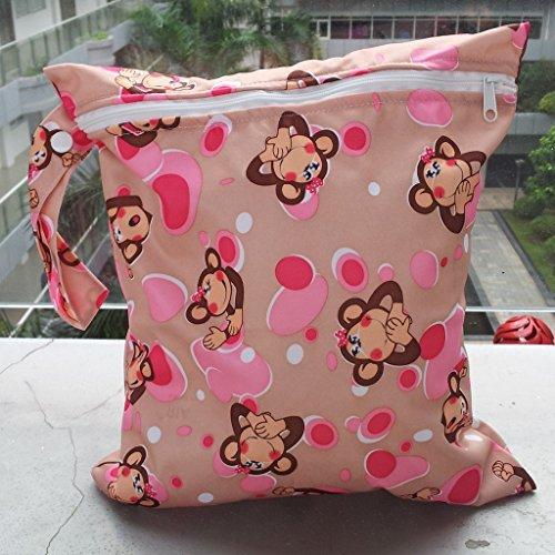 Primi 1pc bebé bebé impermeable Zipper paño reutilizable bolsa de pañales (diseño de mono)