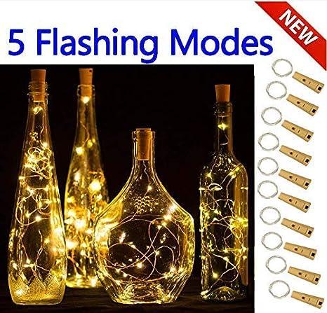 Luces inteligentes con 5 modos regulables para botella de vino con corcho, 10 Packs luces de cable mágico con Decoración, Navidad, Bodas (Blanco ...
