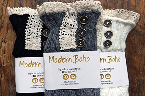 Boot Cuffs Vintage 3 Button Style Women's Boutique Socks Brand by Modern Boho Ivory by Boutique Socks (Image #4)