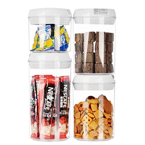 Airtight Home&Kitchen Food Storage Containers,4-Cylinder Set(0.4L/0.75L/1.1L). Durable BPA Free Plastic Containers with Easy Lock and seal Lids. Perfect for cereals,nuts,fruits,beverage,coffee beans. ()