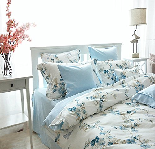 Garden Chinoiserie Floral Duvet Quilt Cover Asian Porcelain Style Tree Blossom and Birds Blue and White Watercolor Pattern 300tc Cotton Percale 3pc Bedding Set (Queen, Blue)