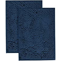 Flamingo P Super Soft Microfiber Bathroom Rugs Non Slip Shag Bath Mat for Kitchen Bedroom, 17x 24, Navy, Two Pack