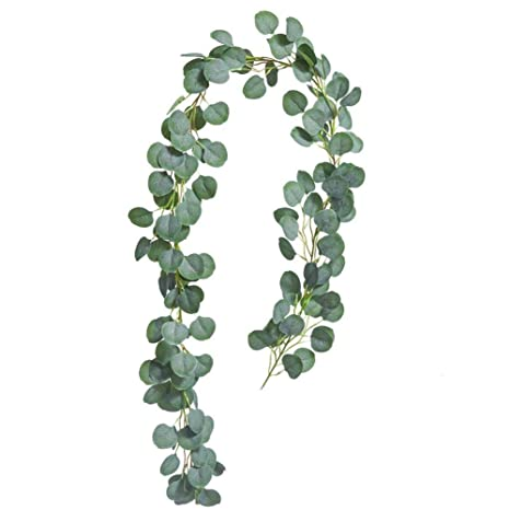 UNIQOOO 2 Pack Artificial Greenery Garland Faux Silk Eucalyptus Plants Vines Perfect for Wedding Decor Bridal Shower Backdrop Wall Arch Decoration Table Runner Centerpieces Photo Prop Wreath