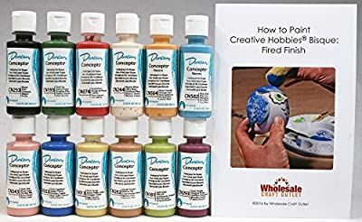 Duncan CNKIT-1 Concepts Underglaze Paint Set, 12 Best Selling Colors in 2 Ounce Bottles with Free How To Paint Ceramics Book