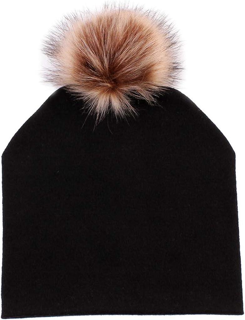 D DOLITY Bonnet pour Femmes El/égant Bonnet en Tricot /épais avec 2 Pompons Chaud Doux /& Confortable Taille Unique.