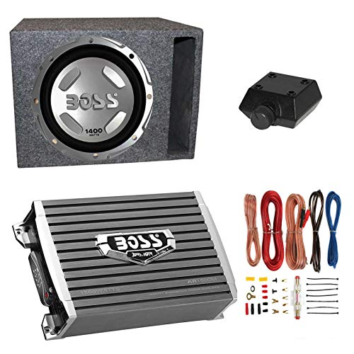 Boss Audio 1400W Subwoofer + Boss 1500W Amplifier + Remote & Wiring Kit + Q-Power Enclosure (12 Inch Subwoofers In Box With Amp)