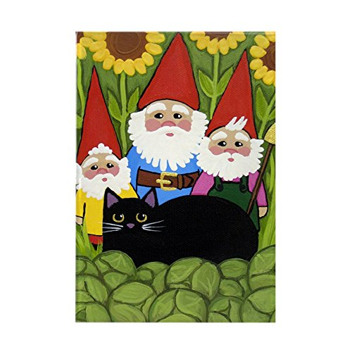 Garden Magnet Rectangle (CafePress - Garden Gnomes & Black Cat LARGE - Rectangle Magnet, 2