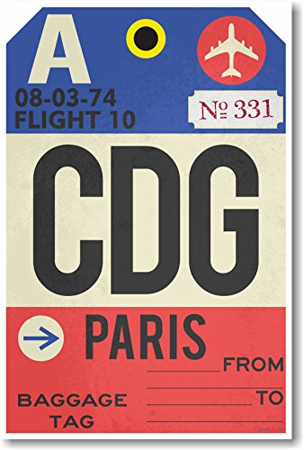 CDG - Paris - Airport Tag - NEW Travel Poster ()