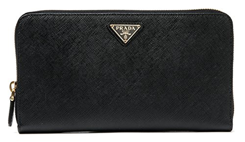 Wiberlux Prada Women's Gold Triangle Logo Detail Zip-Around Long Wallet With Pencil One Size - Prada Purse Black