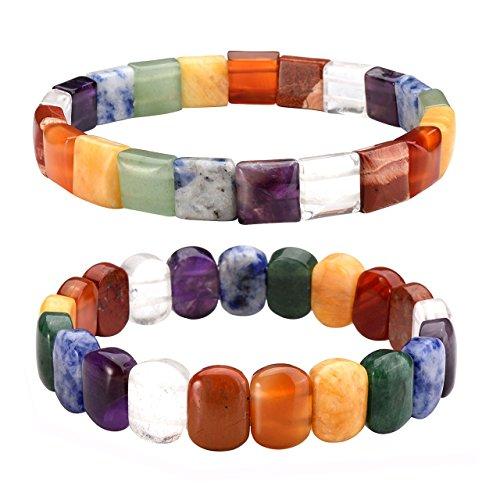(Jovivi 7 Chakra Tumbled Gemstone Facted Oval/Square Beads Stretch Bracelet 7.5