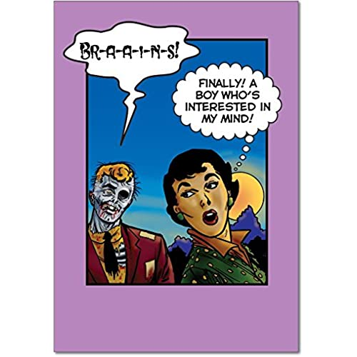 NobleWorks 7369 Zombie Brains Funny Valentine's Day Unique Greeting Card, 5 x 7 Sales