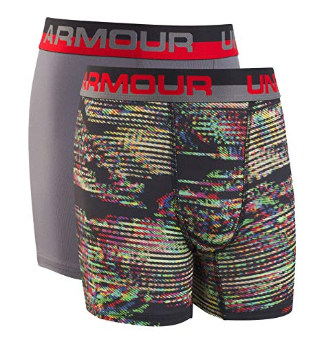 Under Armour Boys' Big 2 Pack Performance Boxer Briefs, Static/Graphite, YXS