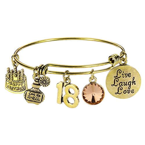 - 18th Birthday Gift Bangles Live Laugh Love Charms Birthstone Expandable Bangle Bracelets with Message Card for Women Girl