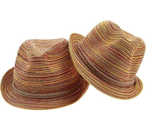ACVIP Women's and Girl's Hemp Fedora Sun Hat Combination Set Orange