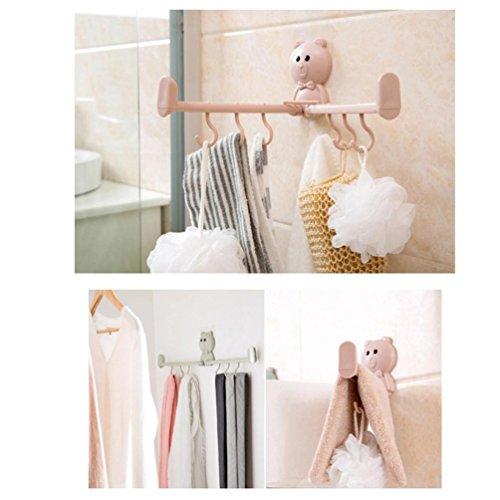 - Mew Design Hanger Hooks Washbasin Towel Rack Bathroom Wall Hooks Tracebathroom Wall Storage Rack (Pink)