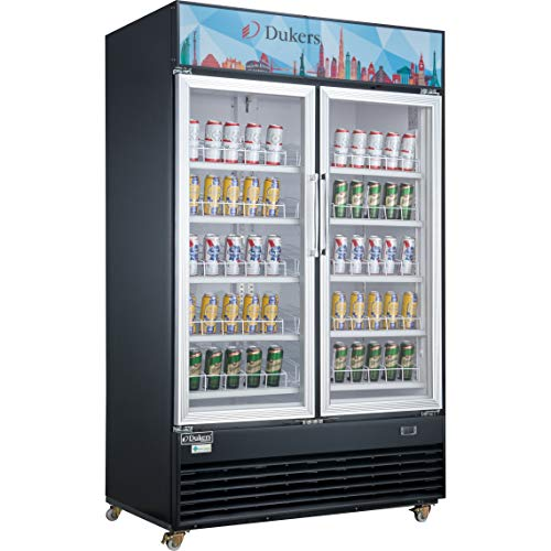 Dukers Appliance USA DSM-48R Glass Swing 2-Door Merchandiser Refrigerator, Black 2 Glass Door Refrigerator