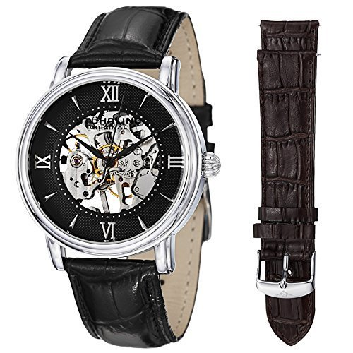 Stuhrling Original Delphi 458.1S Mens Skeleton Watch Set with Mechanical Stainless Steel Watch and set of Black and Brown Leather Watch Straps