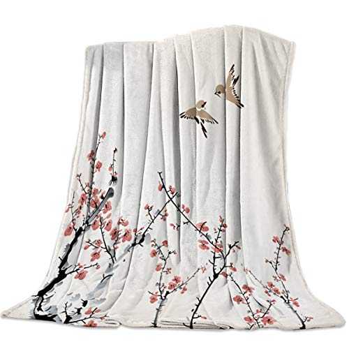 Midsummers Peach - Arts Language Flannel Fleece Throw Blanket for Couch Bed Spring Silhouette Peach Blossom and Birds Soft Cozy Lightweight Bed Blanket for Kids/Adults 39