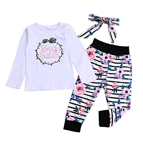 Floral Cotton Set Legging (Newborn Toddler Baby Girl Clothes Big Sister Outfit Bodysuit Tops + Floral Legging Pants Set Bowknot Headband (2-3 Years, Big Sister))