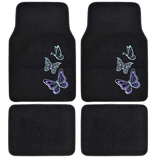 - Carpet Car Floor Mats - Embossed Neon Purple & Green Butterflies on Black - 4pc Set for Car Van SUV Auto