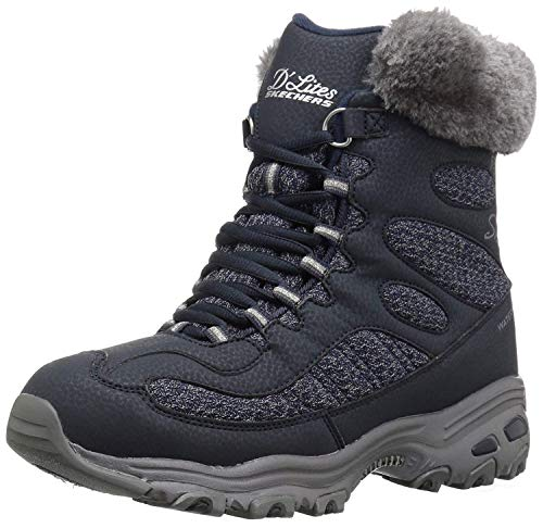 Skechers Women's D'Lites-Bomb Cyclone. Short Lace Up Boot with Fur Collar Fashion, NVY, 11 M ()