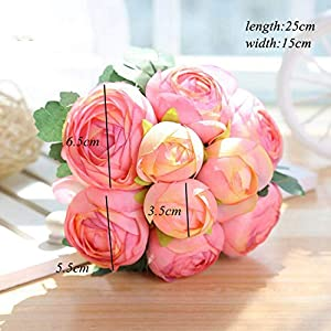 12Pcs Artificial Rose Bouquet Decorative Silk Flowers Bride Bouquets for Wedding Home Party Decoration Wedding Supplies 12pcs Beige 4
