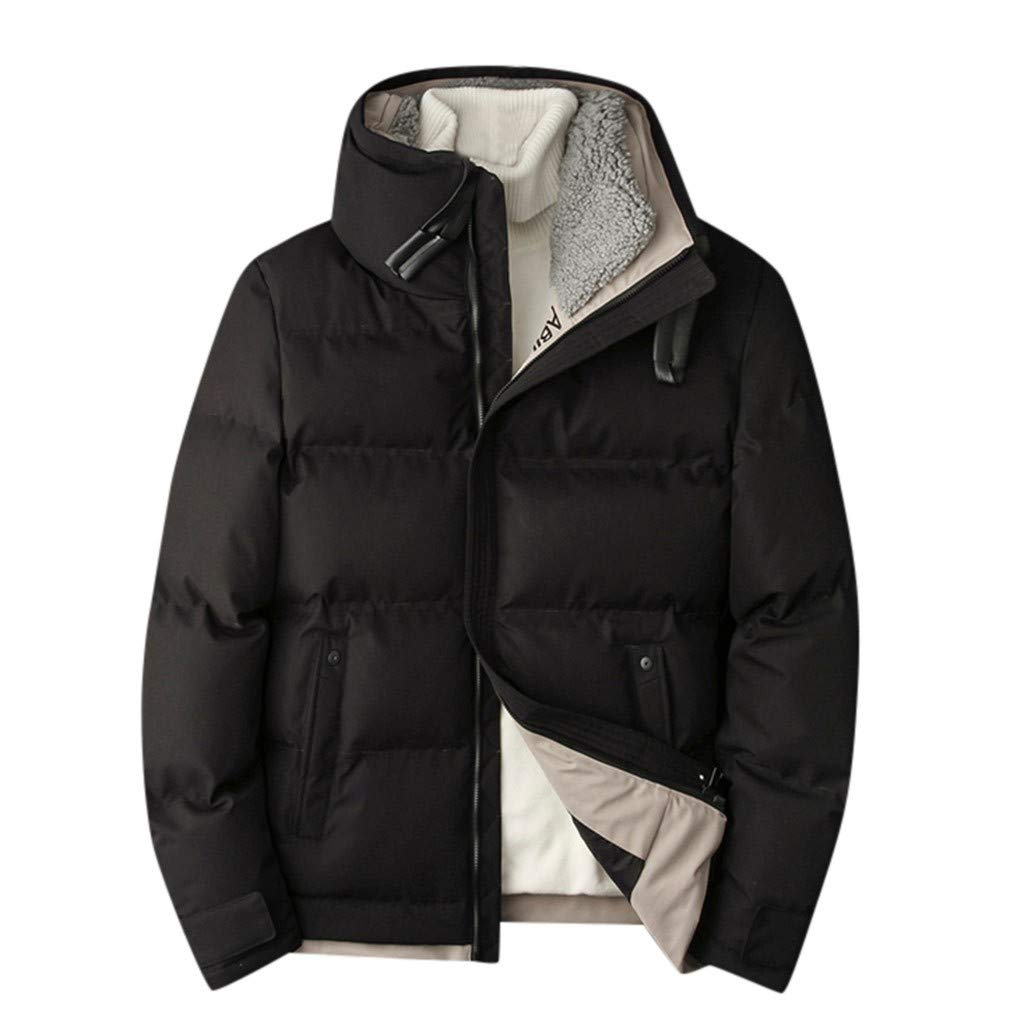 Allywit-Mens Winter Down Jacket Lightweight Thicken Cotton Fleece Padded Quilted Coat Puffer Jacket Plus Size Black by Allywit-Mens