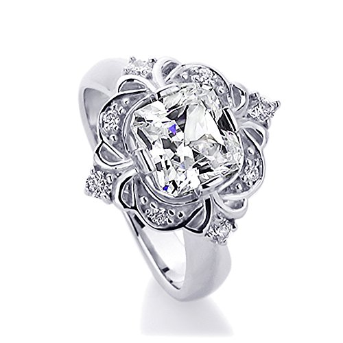 Sterling Silver 2ct Cushion Cut CZ Art Deco Wedding Engagement Ring ( Size 5 to 9 )