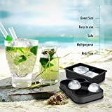 Ice Cube Trays , Nexlux Silicone ice Ball Maker Combo Set of 2,whiskey ice mold 12 Cubes with Lid & Large Square Molds, Reusable & BPA Free