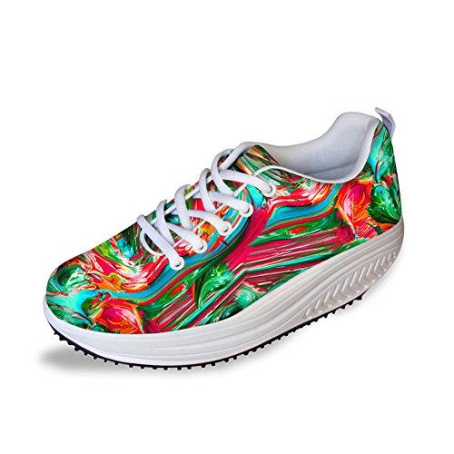Mesh Shape HUGSIDEA Sneakers Colorful 10 Ups Walking Womens Multicolor HxEqf1F