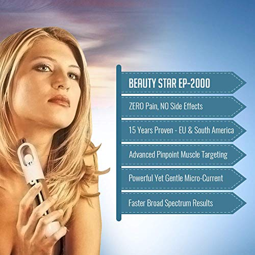 Microcurrent Face Lift Device | 15 Years Proven – Med Spa Grade | In Weeks BEAUTY STAR Face Toner Gently Tightens & Erases Wrinkles, Lines & Aging from Face, Chin & Neck | Gel & Battery by Biosincron by Biosincron (Image #1)
