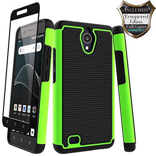AT&T AXIA Case (QS5509A), Cricket Vision Case with [Tempered Glass Screen Protector] Nuomaofly Rugged Heavy Duty Shock-Absorption Protection (Green) ()