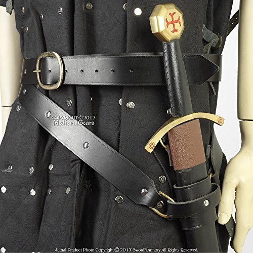 Medieval Double Wrap Genuine Black Leather Sword Belt w/Frog Viking Pirate XL