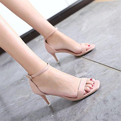 Ventilées Nouvelle Sandales pink Profession L'Été HXVU56546 Talon Bare Avec De Par De Chaussures Les qI1wqTd