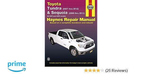 toyota tundra 2007 2012 sequoia 2008 2012 haynes repair manual rh amazon com 2007 ski doo tundra service manual 2015 Toyota Tundra